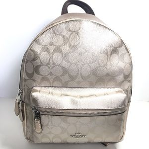 Coach medium Charlie backpack platinum/silver